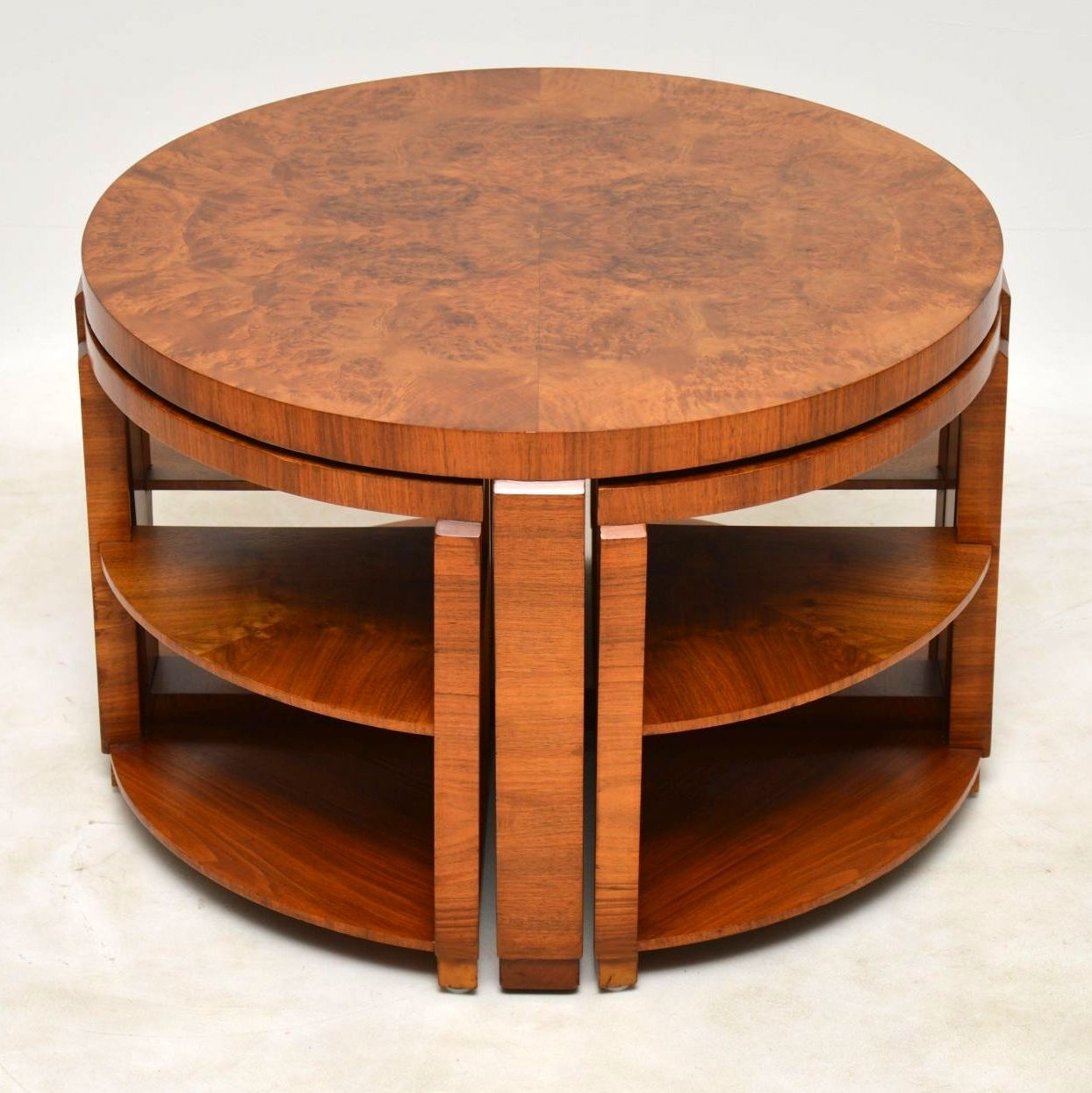 1920's Art Deco Burr Walnut Nesting Coffee Table | Interior for Antiqued Art Deco Coffee Tables (Image 1 of 30)