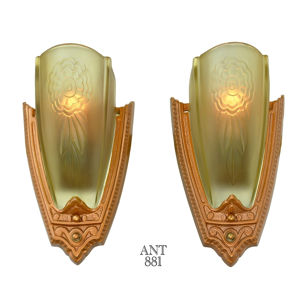 1930S Pair Art Deco Wall Sconces Glass Slip Shade Lightspuritan with regard to Art Deco Wall Sconces (Image 1 of 20)