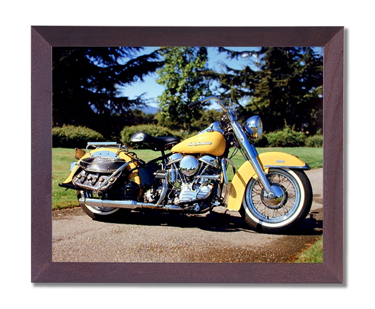 1954 Panhead Harley Davidson Motorcycle Wall Picture Cherry Framed For Harley Davidson Wall Art (Gallery 6 of 20)