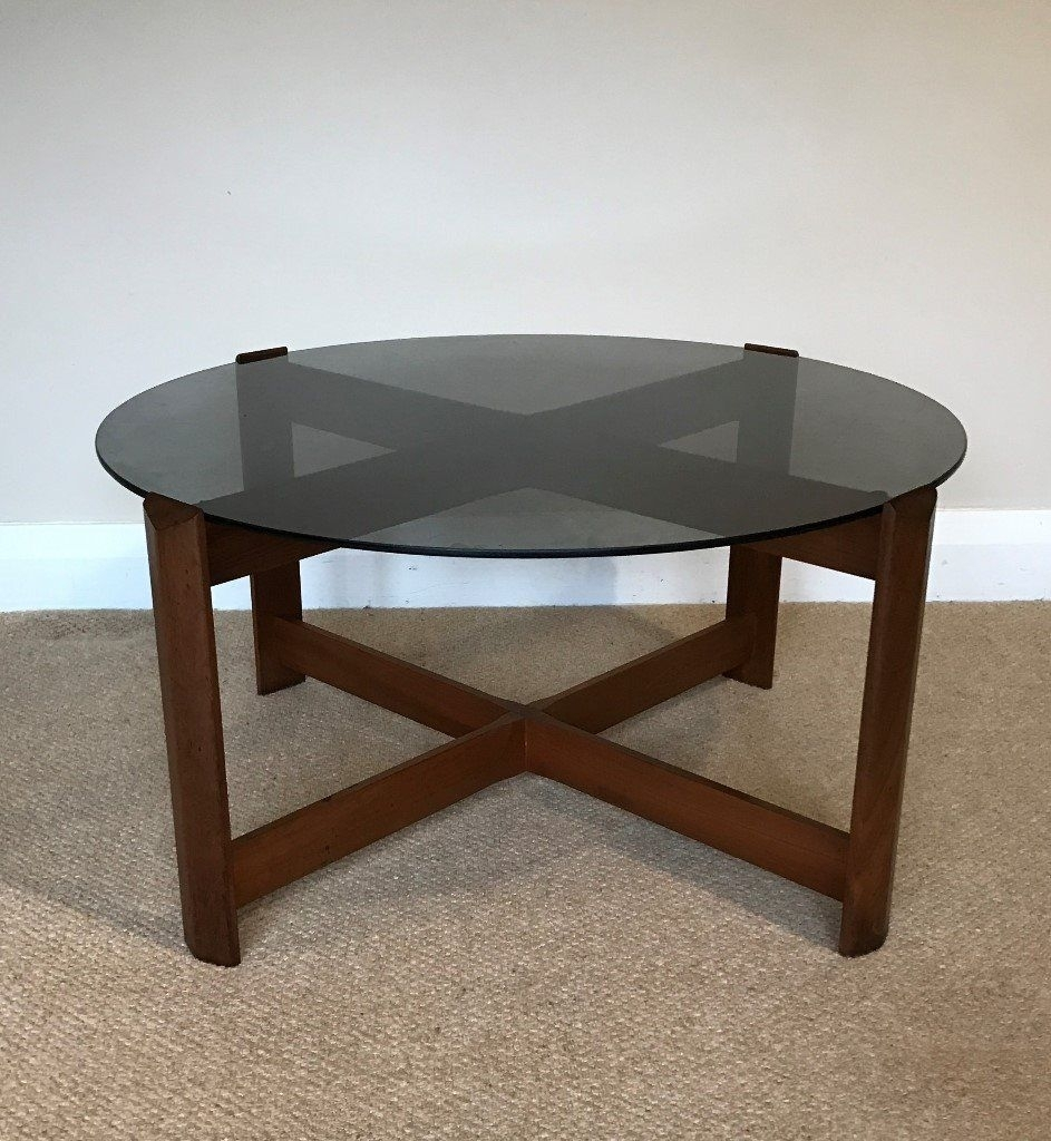 1970's Retro Vintage Round Teak Coffee Table With Smoked Glass Top with regard to Round Teak Coffee Tables (Image 2 of 30)