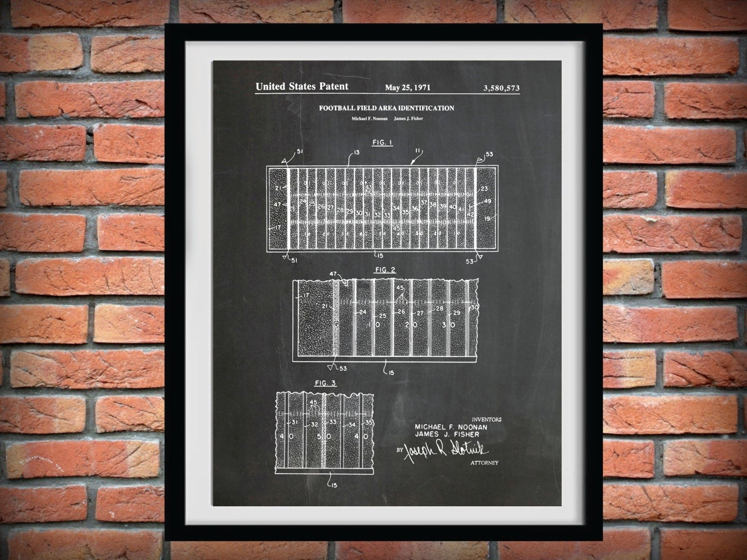 1971 Football Field Layout Patent – Art Print Poster – Sports Wall In Nfl Wall Art (Gallery 9 of 20)