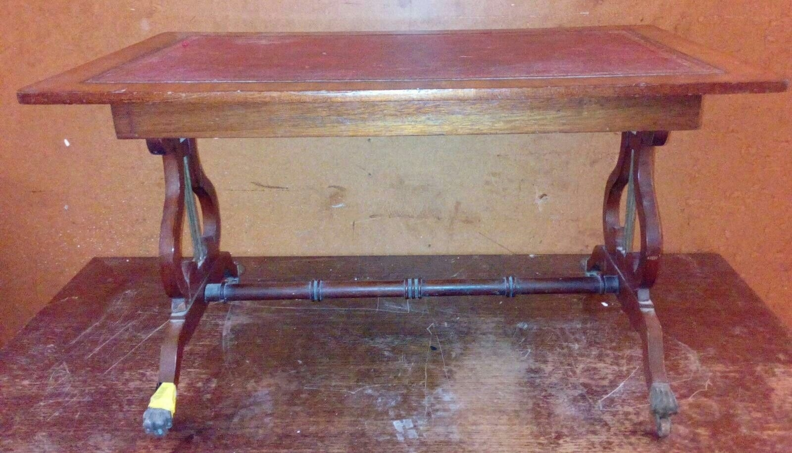 19C Antique Leather Topped Lyre End Coffee Table Side/end Table On with Lyre Coffee Tables (Image 1 of 30)