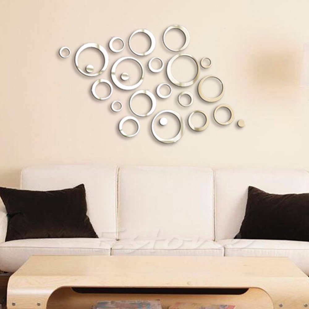 1Pc Sticker Fashion Circles Mirror Style Removable Decal Vinyl Art Throughout Wall Sticker Art (Photo 15 of 20)