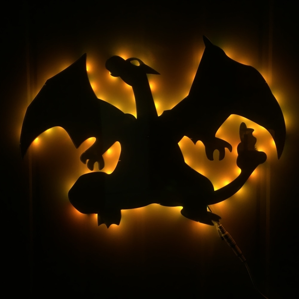 1Piece Charizard Evolution Led Wall Light Pokemon Inspired Led Wall Within Led Wall Art (Photo 15 of 20)