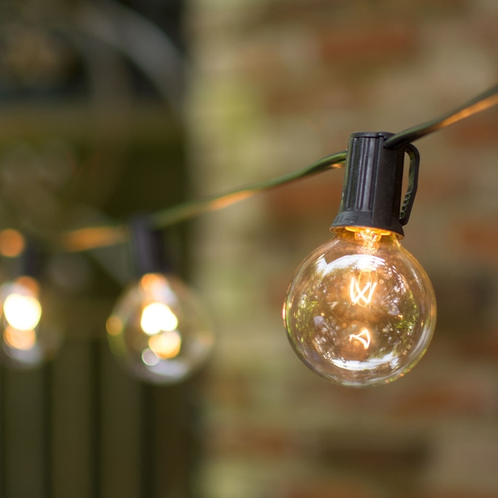 2 In. Bulbs C9 25 Ft. Black Wire Globe String Lights | Wedding Lights Pertaining To Outdoor Empty Lanterns (Photo 12 of 20)