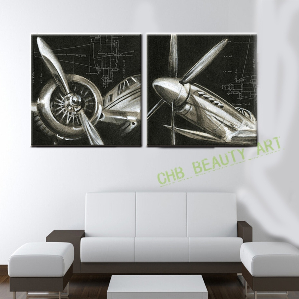 2 Panels Vintage Airplane Paintings Cheap Abstract Picture Hd in Airplane Wall Art (Image 2 of 20)