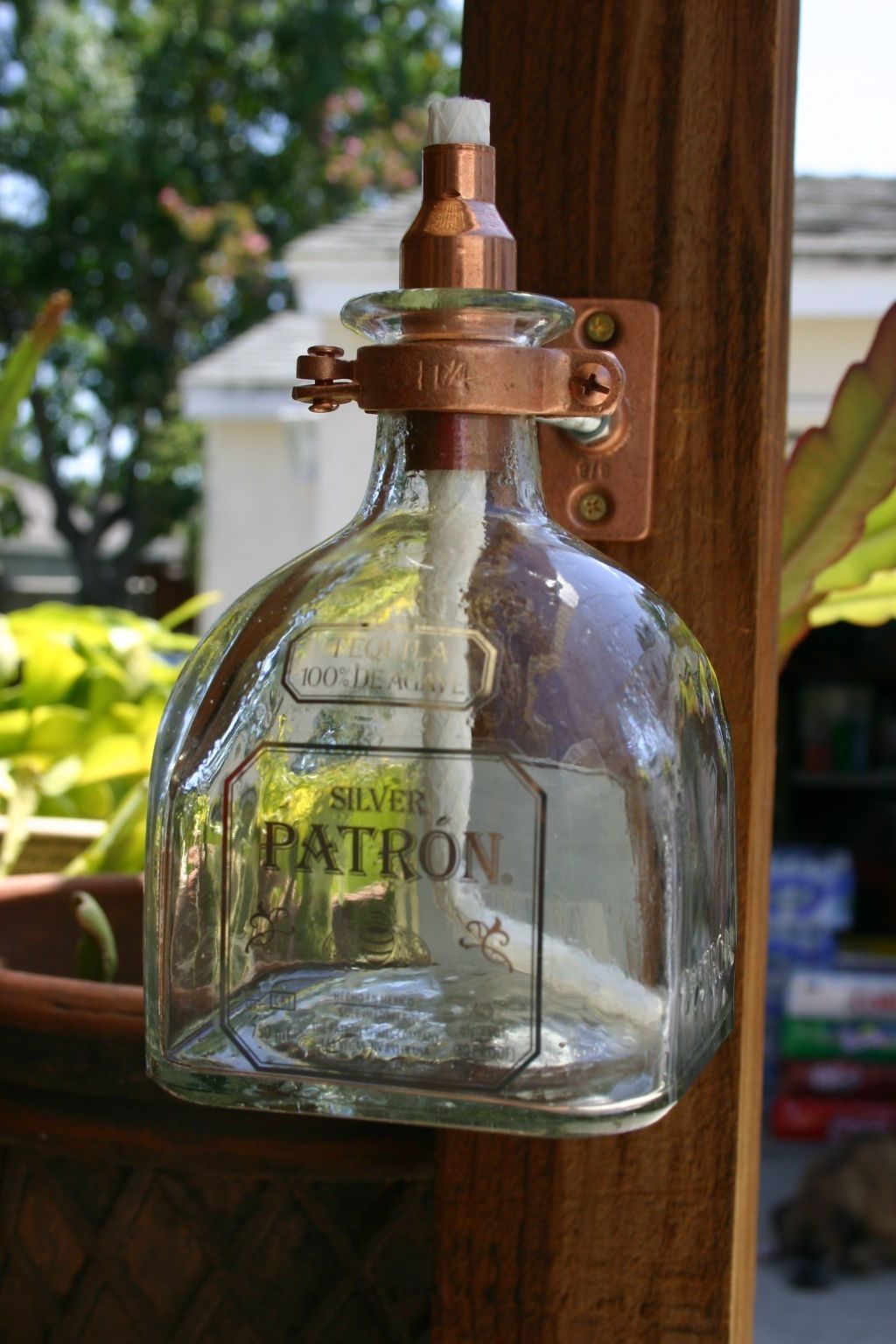 2 Patron Tequila Tiki Torch / Oil Lamps Including Bottle & Hardware inside Outdoor Oil Lanterns (Image 1 of 20)