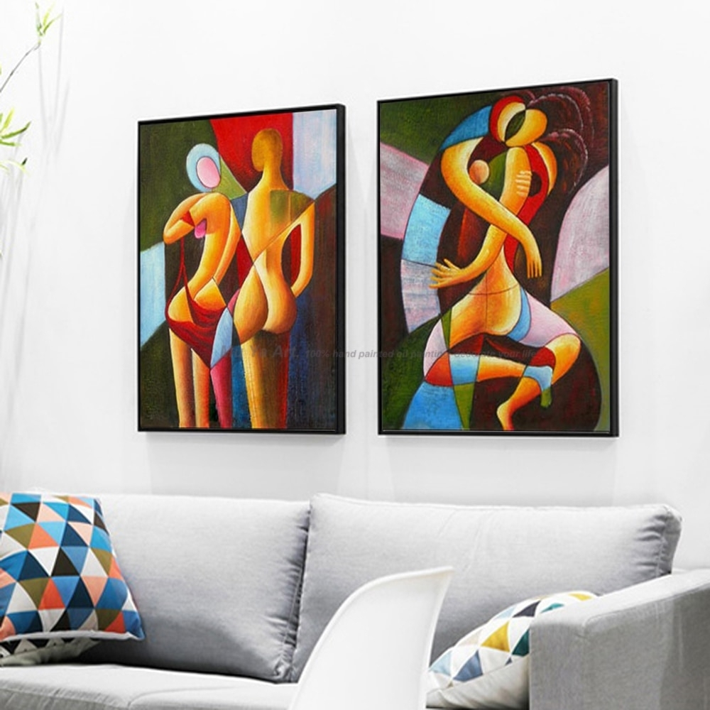 2 Piece Nude Painting Sexy Painting Abstract Modern Canvas Wall Art in Modern Canvas Wall Art (Image 1 of 20)