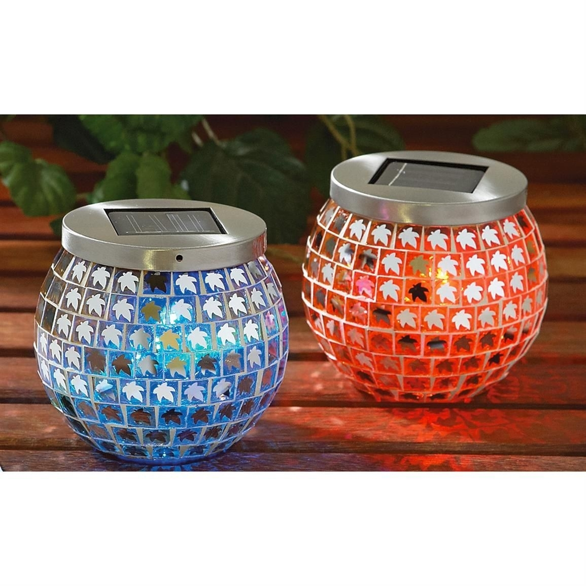 2 Pk. Of Solar Tabletop Lights Change Color From Red, Green, Blue To With Regard To Red Outdoor Table Lanterns (Photo 14 of 20)