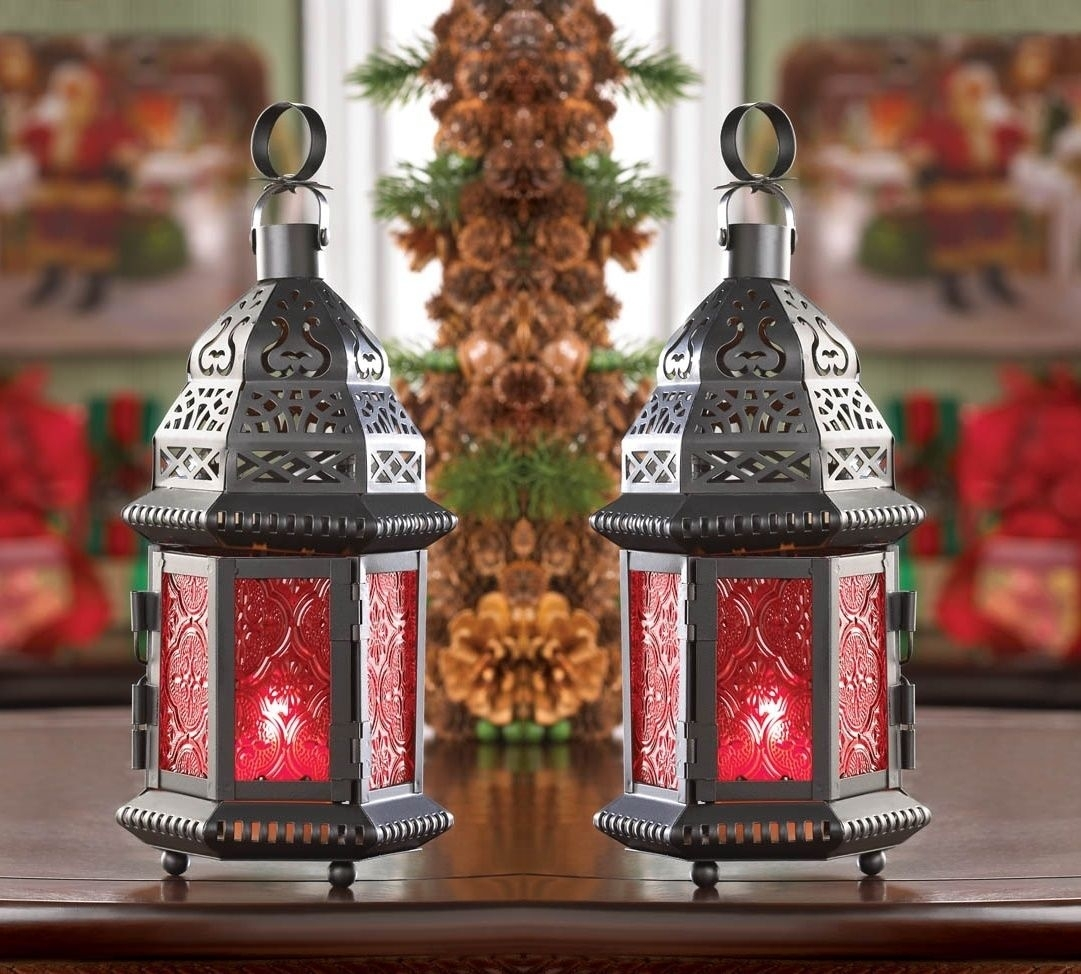 """2 Red Moroccan Candle Holder 10"""" Tall Lantern Terrace Outdoor Garden Within Red Outdoor Table Lanterns (Photo 9 of 20)"""