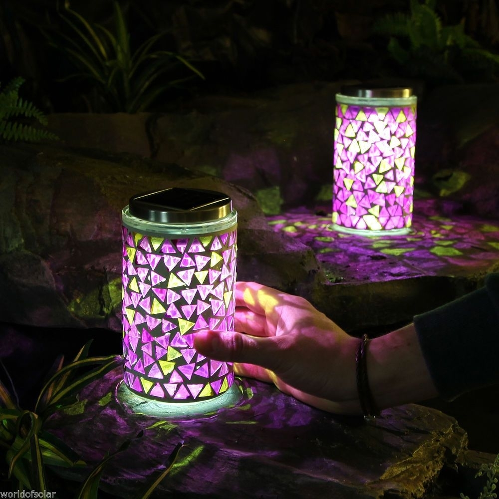 2 Solar Powered Led Mosaic Lanterns Outdoor Garden Multi Colour Regarding Outdoor Mosaic Lanterns (Gallery 4 of 20)