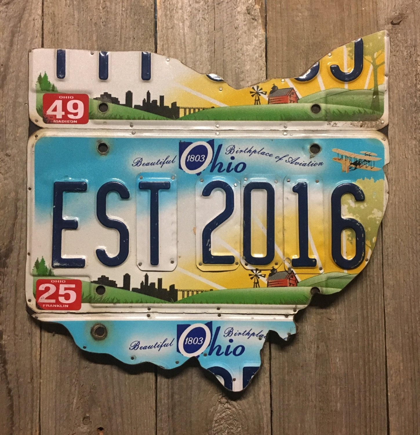 2 Year Anniversary Gift Ohio License Plate Map – Established 2016 In License Plate Map Wall Art (View 7 of 20)