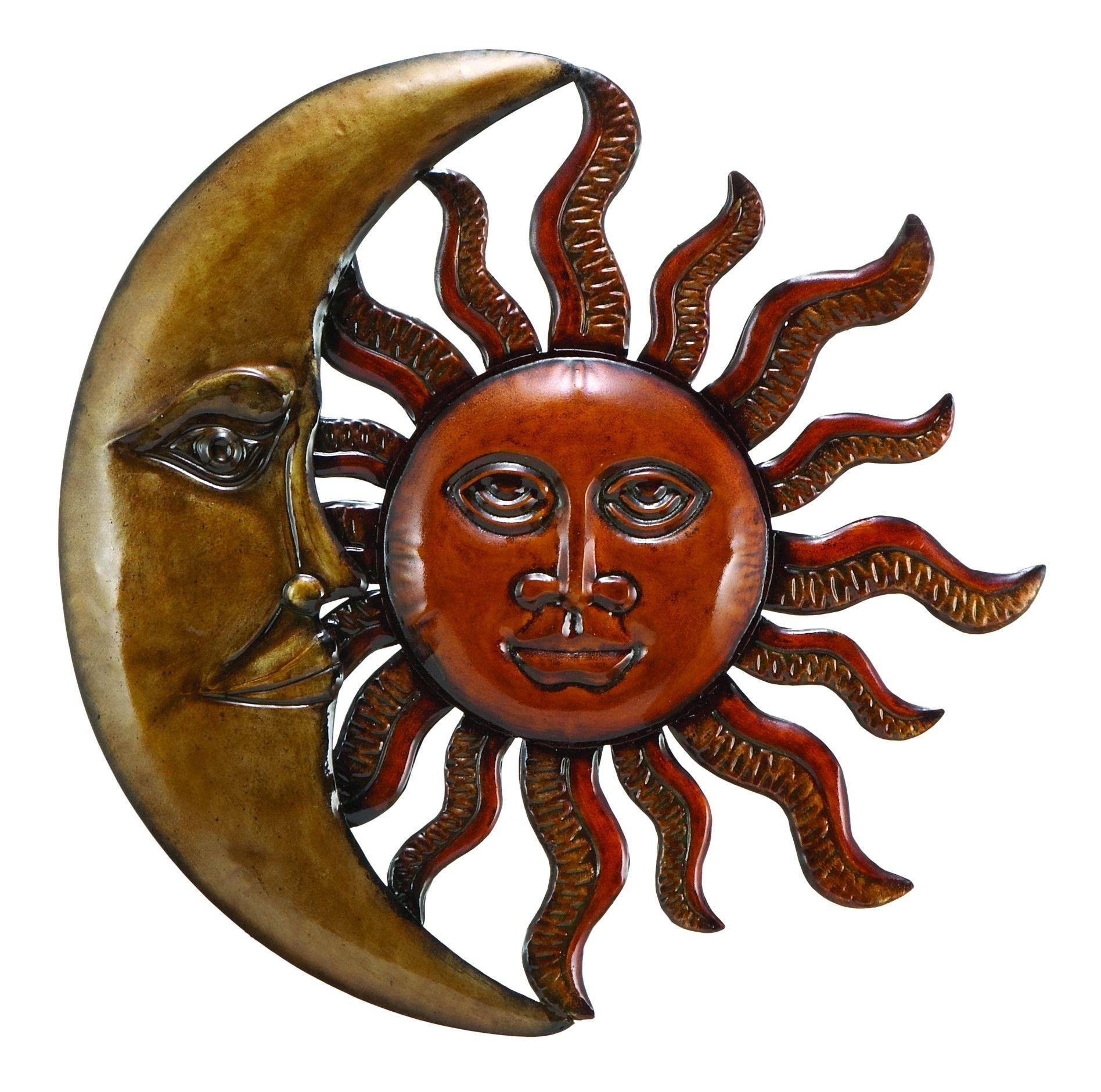 "20"" Brown Red Moon Sun Face Metal Wall Art African Mystic Decor Regarding Sun And Moon Metal Wall Art (Photo 20 of 20)"