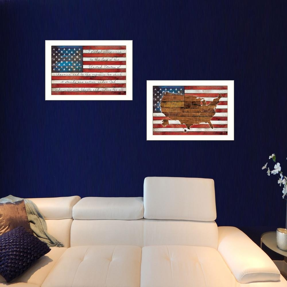"20 In. X 52 In. ""american Flags""marla Rae Printed Framed Wall Pertaining To American Flag Wall Art (Photo 6 of 20)"