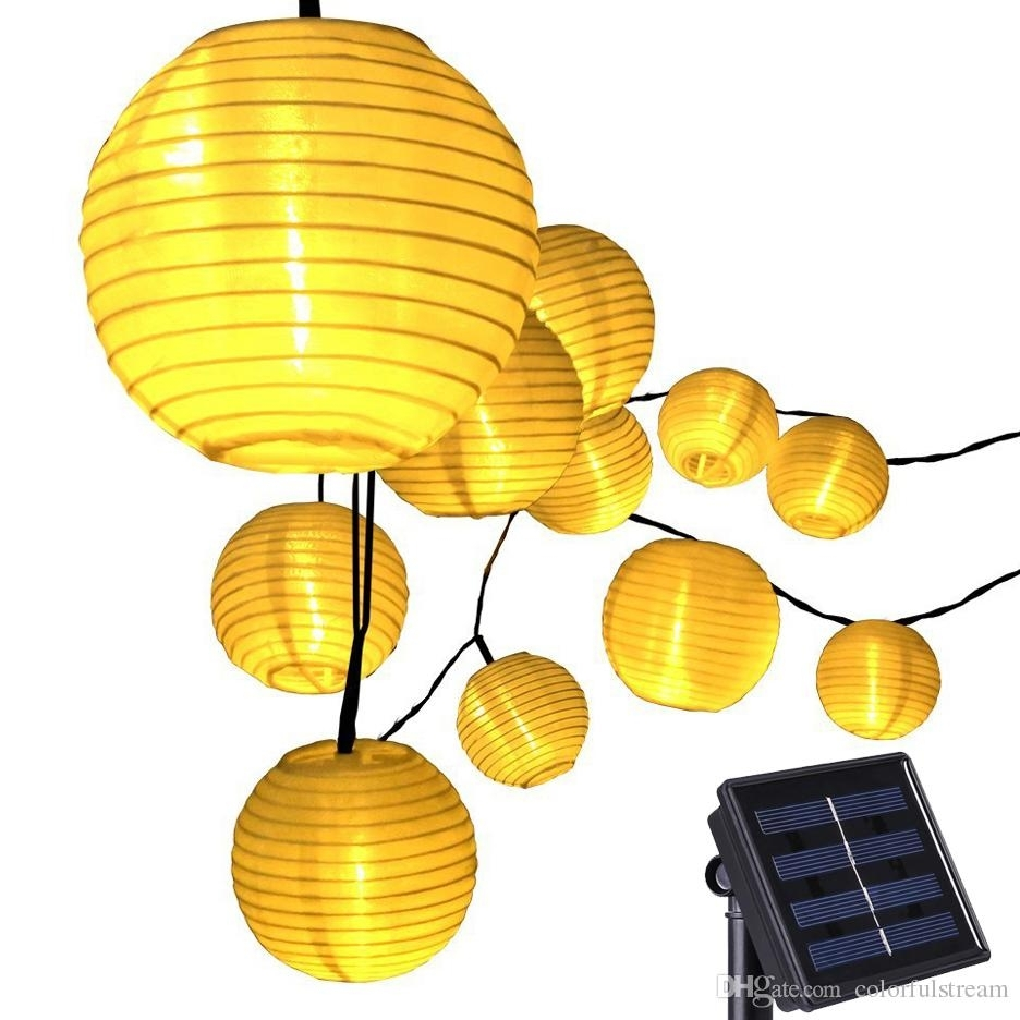 20 Led Lantern Solar Powered String Indoor Or Outdoor Lights In Yellow Outdoor Lanterns (Photo 6 of 20)