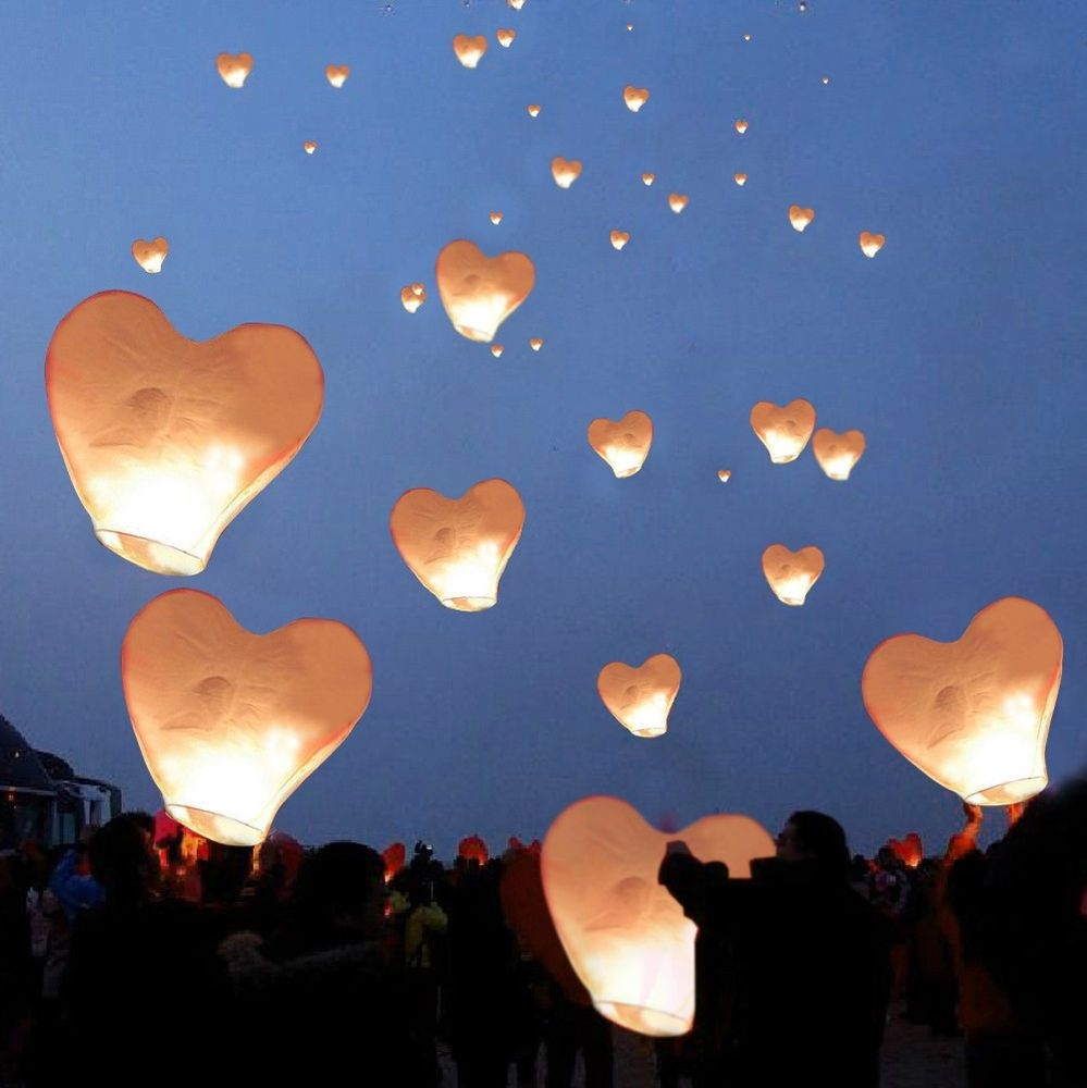 20 White Heart Paper Chinese Lanterns Sky Fly Candle Lamps Wishing within Outdoor Memorial Lanterns (Image 2 of 20)