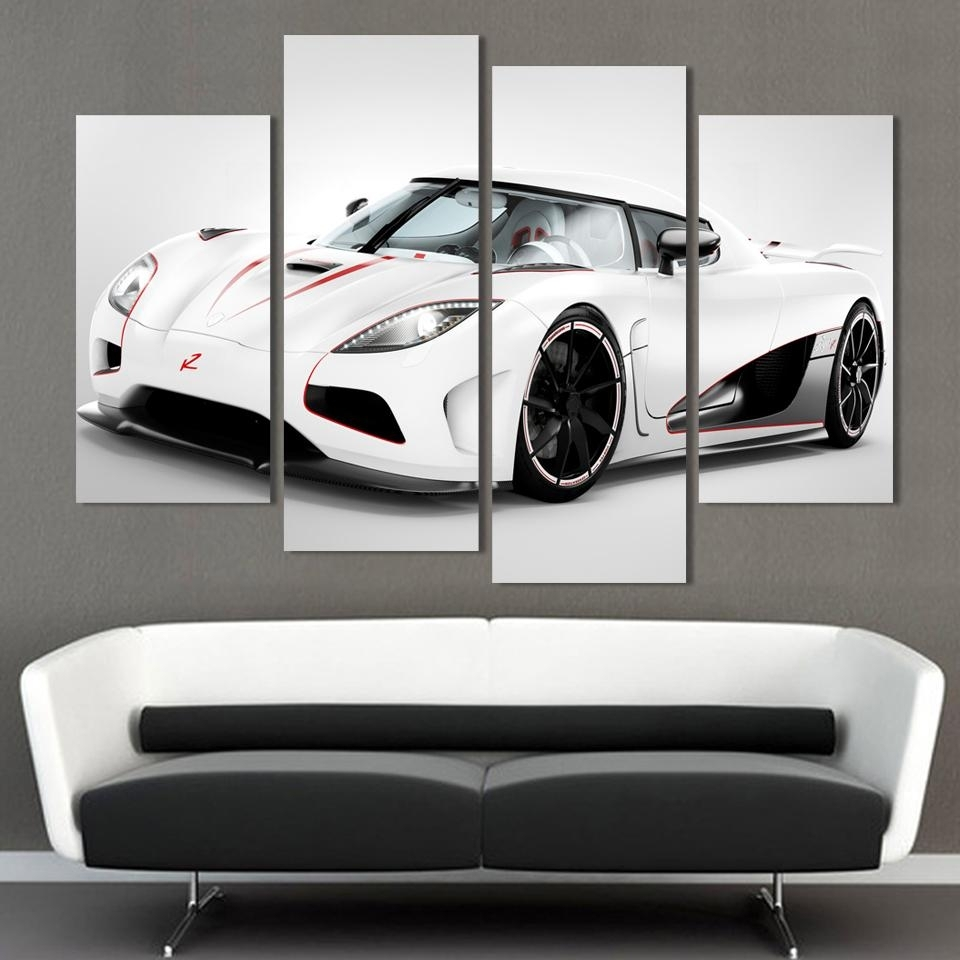 2016 4 Pcs White Sports Car Wall Art Painting Home Decoration Living For Car Canvas Wall Art (Photo 18 of 20)