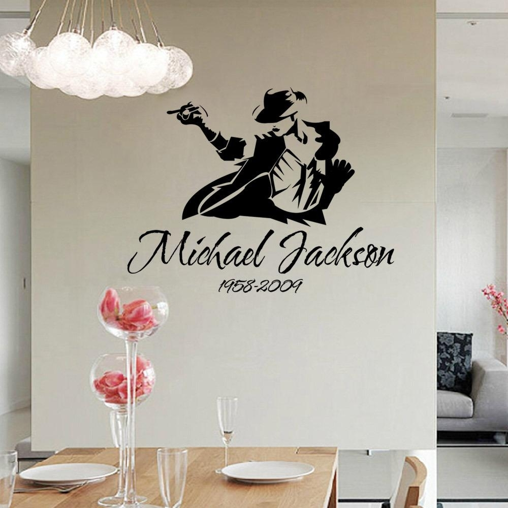 2017 Dancing Michael Jackson Wall Stickers Removable Vinyl Wall within Home Decor Wall Art (Image 1 of 20)