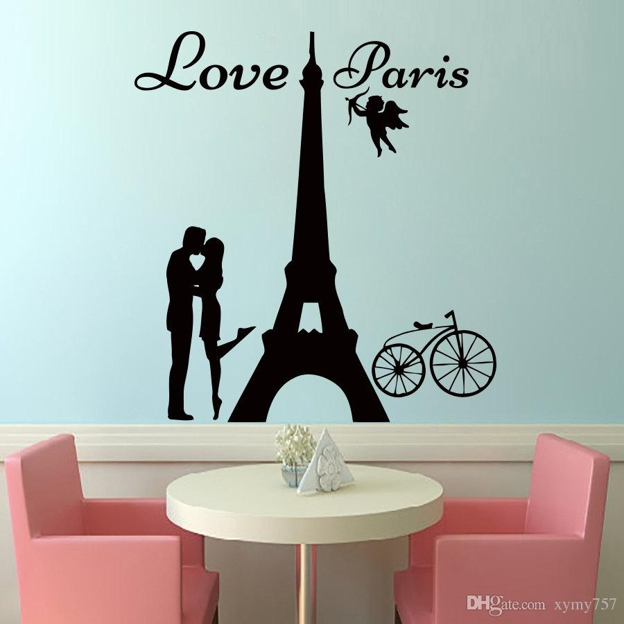 2017 Hot Sale Angels Love Paris Wall Decals Lover Kissing And Bike Inside Wall Sticker Art (Gallery 9 of 20)