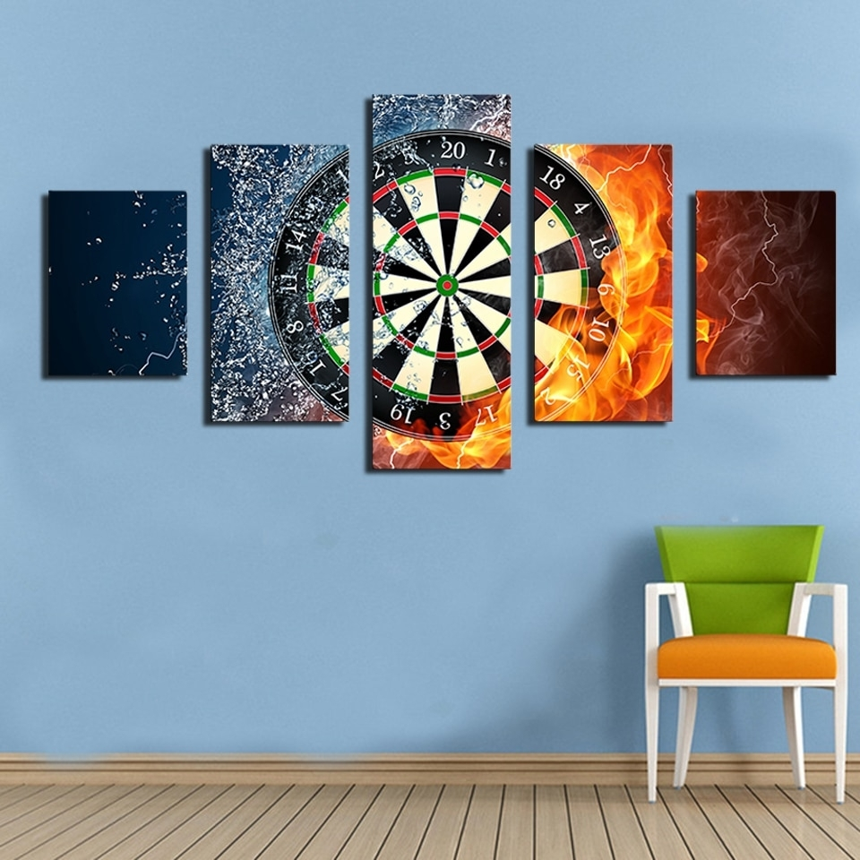 2017 Real Fallout 5 Piece Darts Wheel Target Fire Water Home Wall Inside Target Wall Art (Gallery 4 of 20)