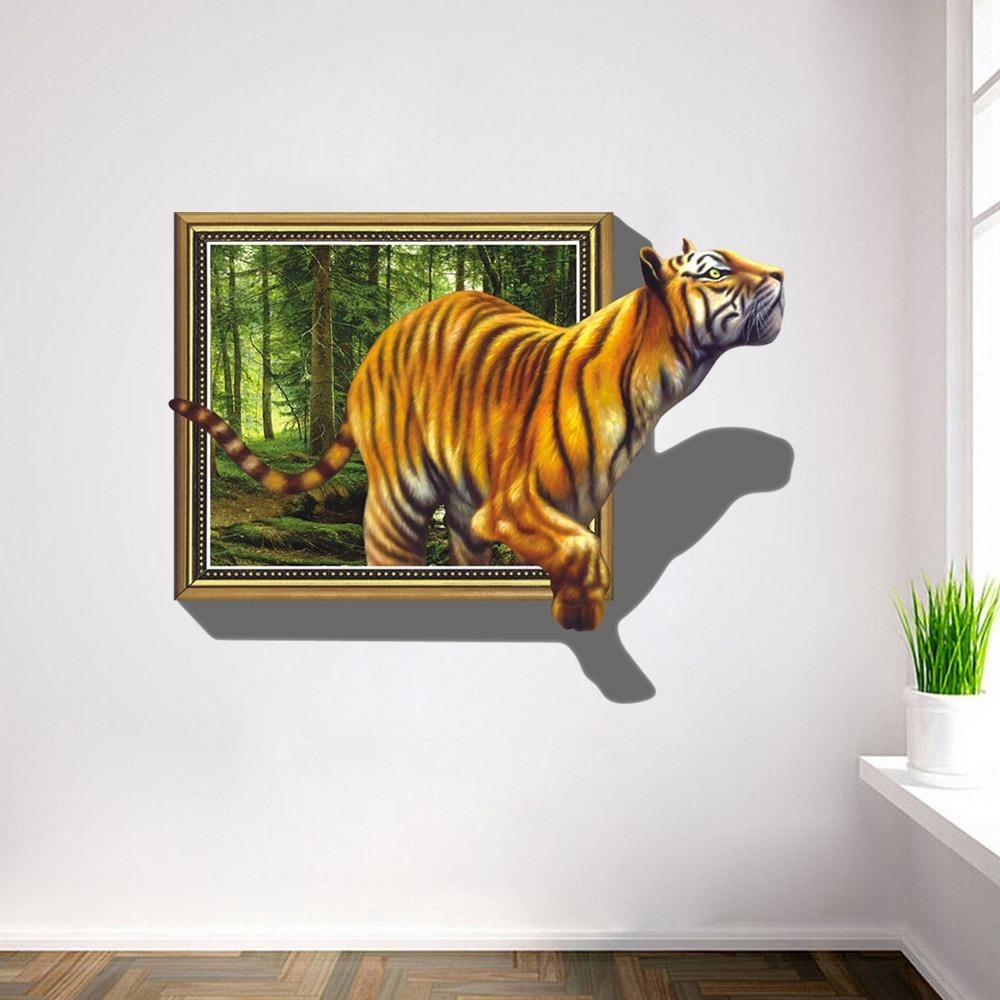 2017 Wall Stickers 3D Tigers Picture Frame Extra Large Pvc Removable With 3D Wall Art (View 1 of 20)