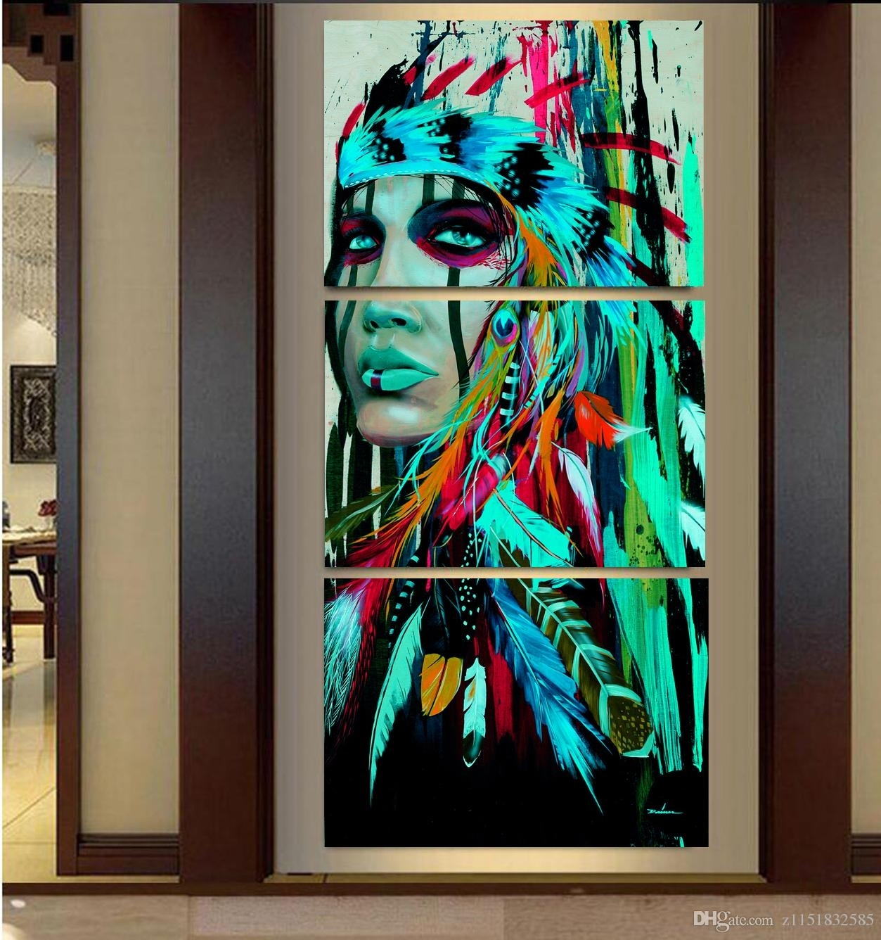 2018 2017 Abstract Print The Indians Feathered Home Decor Canvas Regarding Native American Wall Art (Photo 17 of 20)