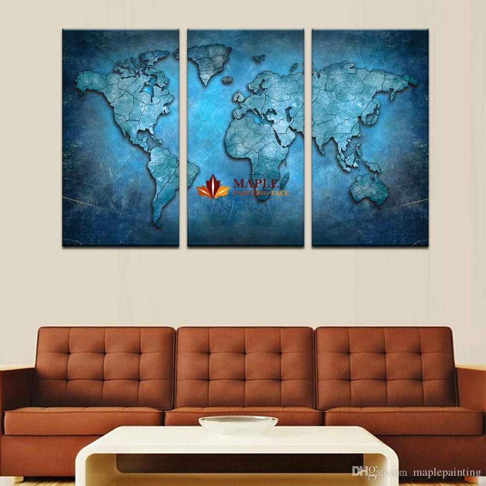 2018 3 Panels Large Modern Abstract Blue Map Hd Picture Canvas Print Inside Large Contemporary Wall Art (View 5 of 20)