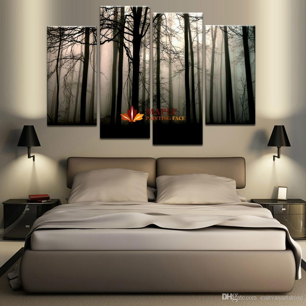 2018 4 Panel Large Canvas Art Modern Abstract Hd Canvas Print Home with Modern Large Canvas Wall Art (Image 1 of 20)