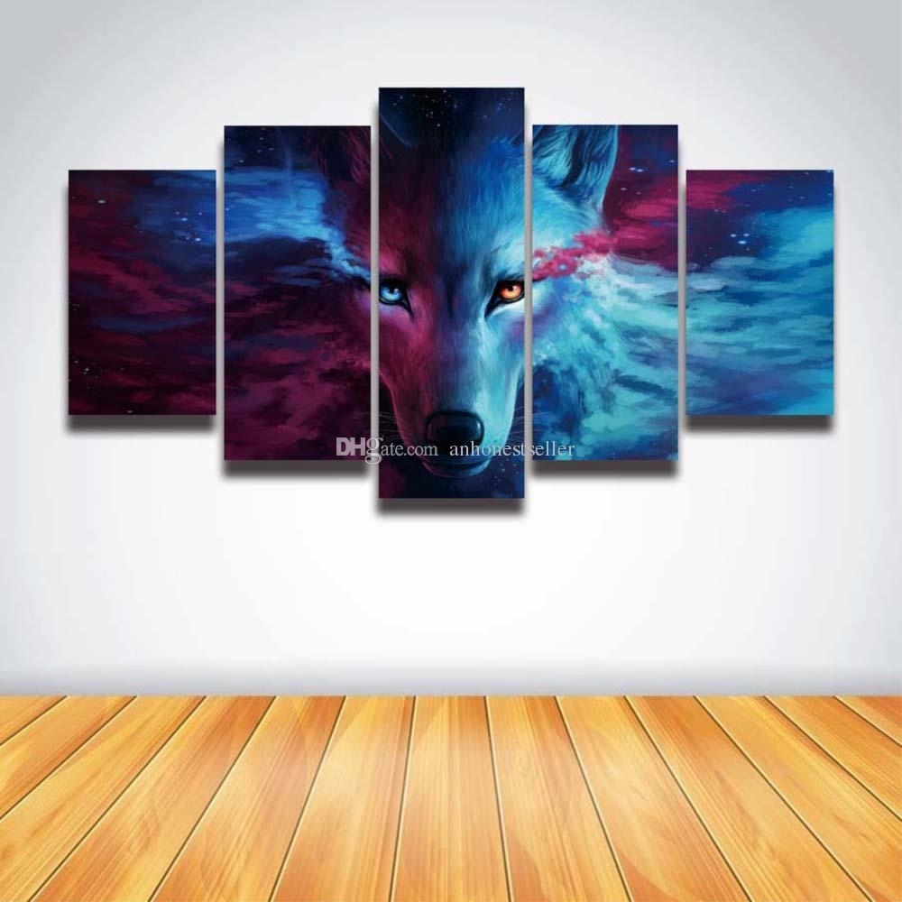 2018 5 Panel Canvas Wall Art Anime Wolf Painting Hd Prints Modular Pertaining To 5 Panel Wall Art (View 2 of 20)