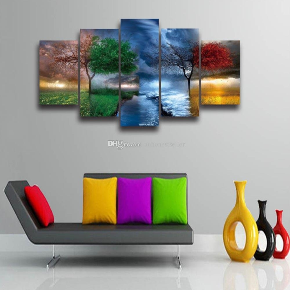 2018 5 Panel Canvas Wall Art Season Tree Landscape Painting Modular Pertaining To 5 Panel Wall Art (View 3 of 20)