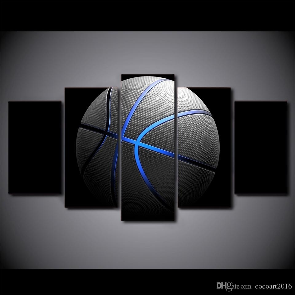 2018 5 Panel Framed Hd Printed Basketball Blue Light Sports Canvas Pertaining To Sports Wall Art (View 2 of 20)