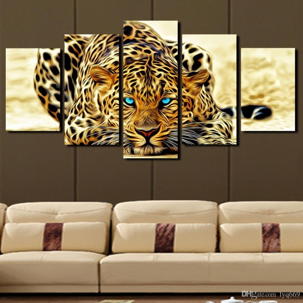 2018 5 Panel Leopard Painting Canvas Print Painting Home Decoration Intended For Living Room Painting Wall Art (Photo 7 of 20)