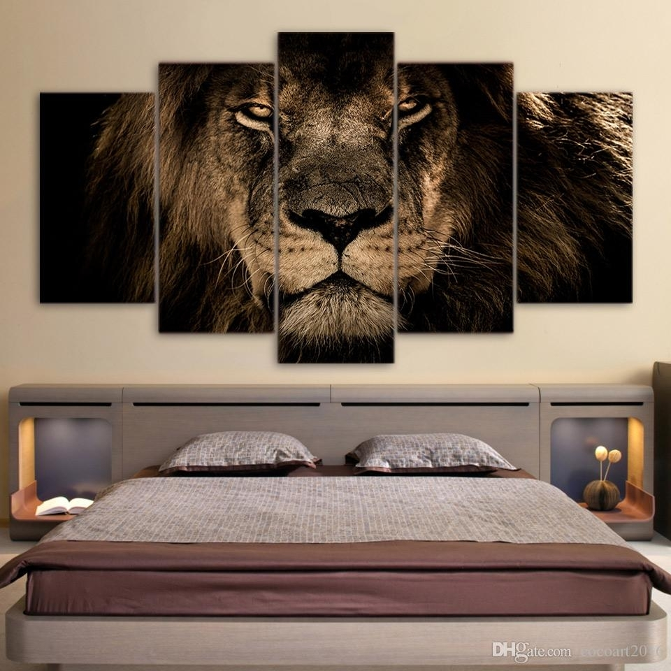 2018 5 Panel Painting Canvas Lions Wall Art Picture Home Decoration In Lion Wall Art (Photo 8 of 20)