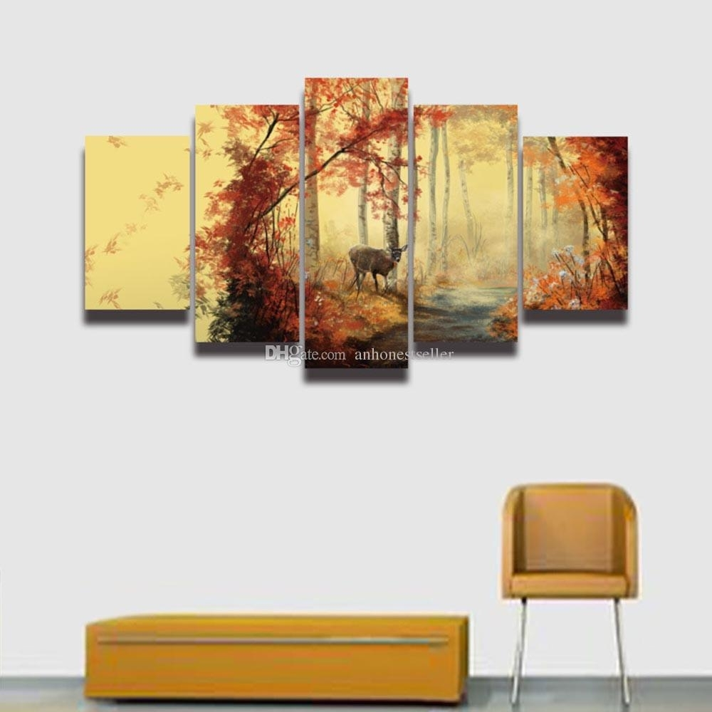 2018 5 Panel Painting Canvas Wall Art Deer Forest Landscape Modular For Deer Canvas Wall Art (Gallery 17 of 20)