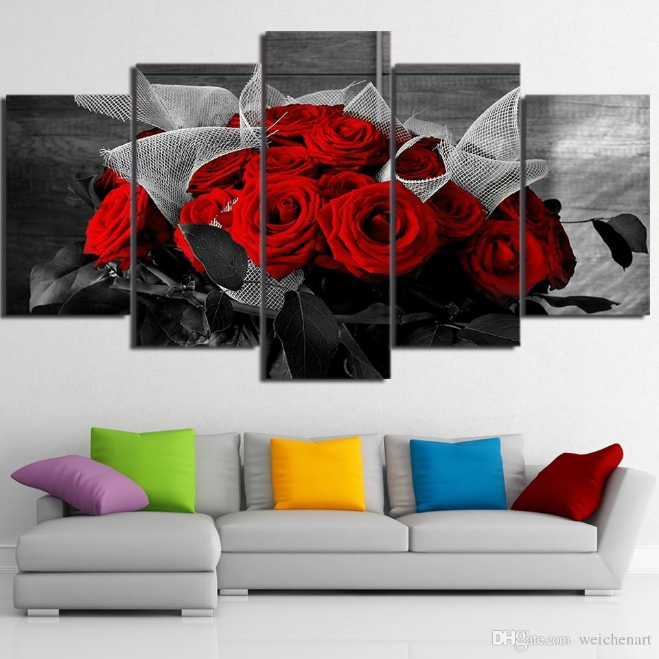 2018 5 Panel Wall Art On Canvas Beautiful Red Rose Modular Large Within Large Canvas Painting Wall Art (Gallery 6 of 20)