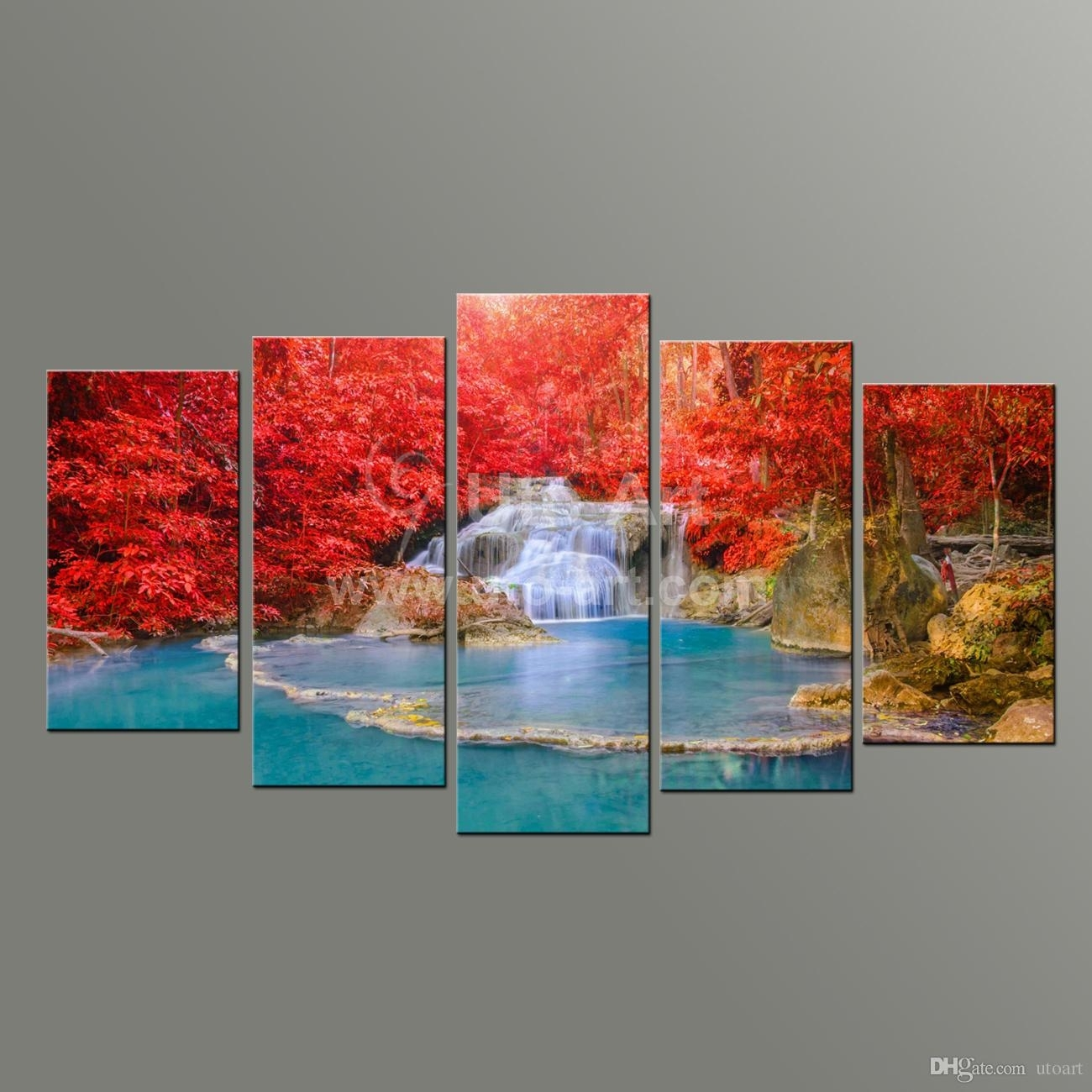 2018 5 Panel Wall Art Paintings Landscaping Waterfall Picture And intended for Wall Art Paintings (Image 2 of 20)