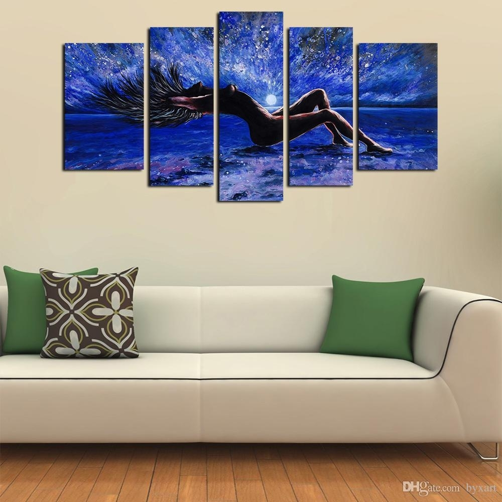 2018 5 Panels Sexy Girl Abstract Canvas Wall Art Women Naked Figure Pertaining To Abstract Canvas Wall Art (Gallery 1 of 20)