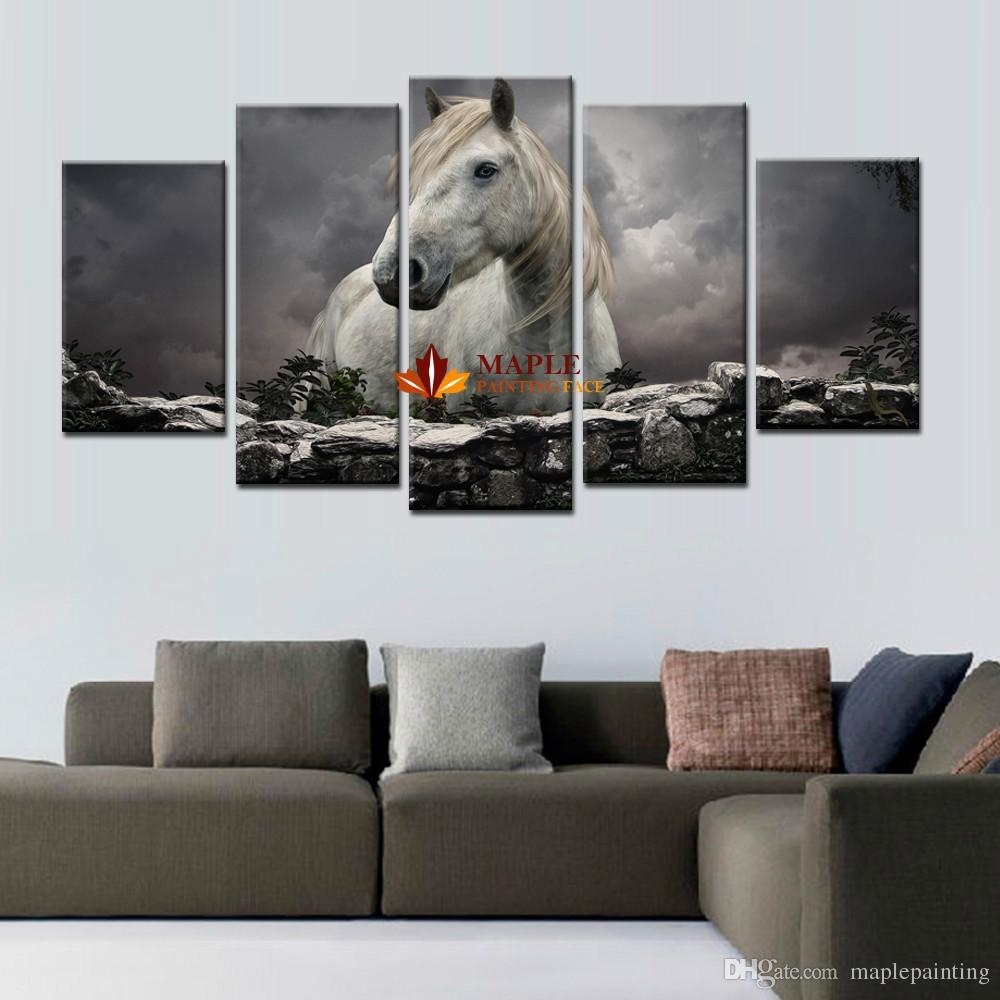 2018 5 Panels White Horse Print On Canvas Wall Painting Modern Throughout Large Canvas Wall Art (Gallery 3 of 20)