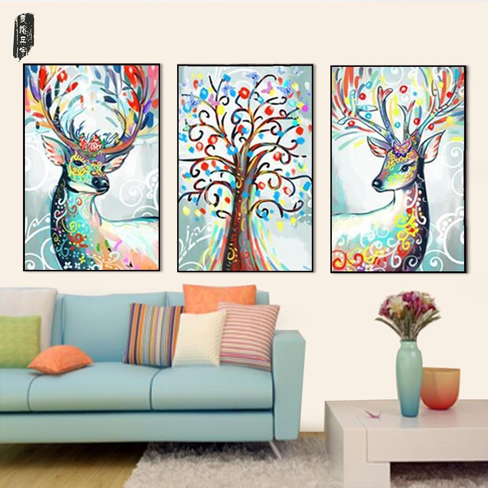2018 Abstract Animal Wall Art Deer Canvas Painting Posters And In Deer Canvas Wall Art (Photo 14 of 20)