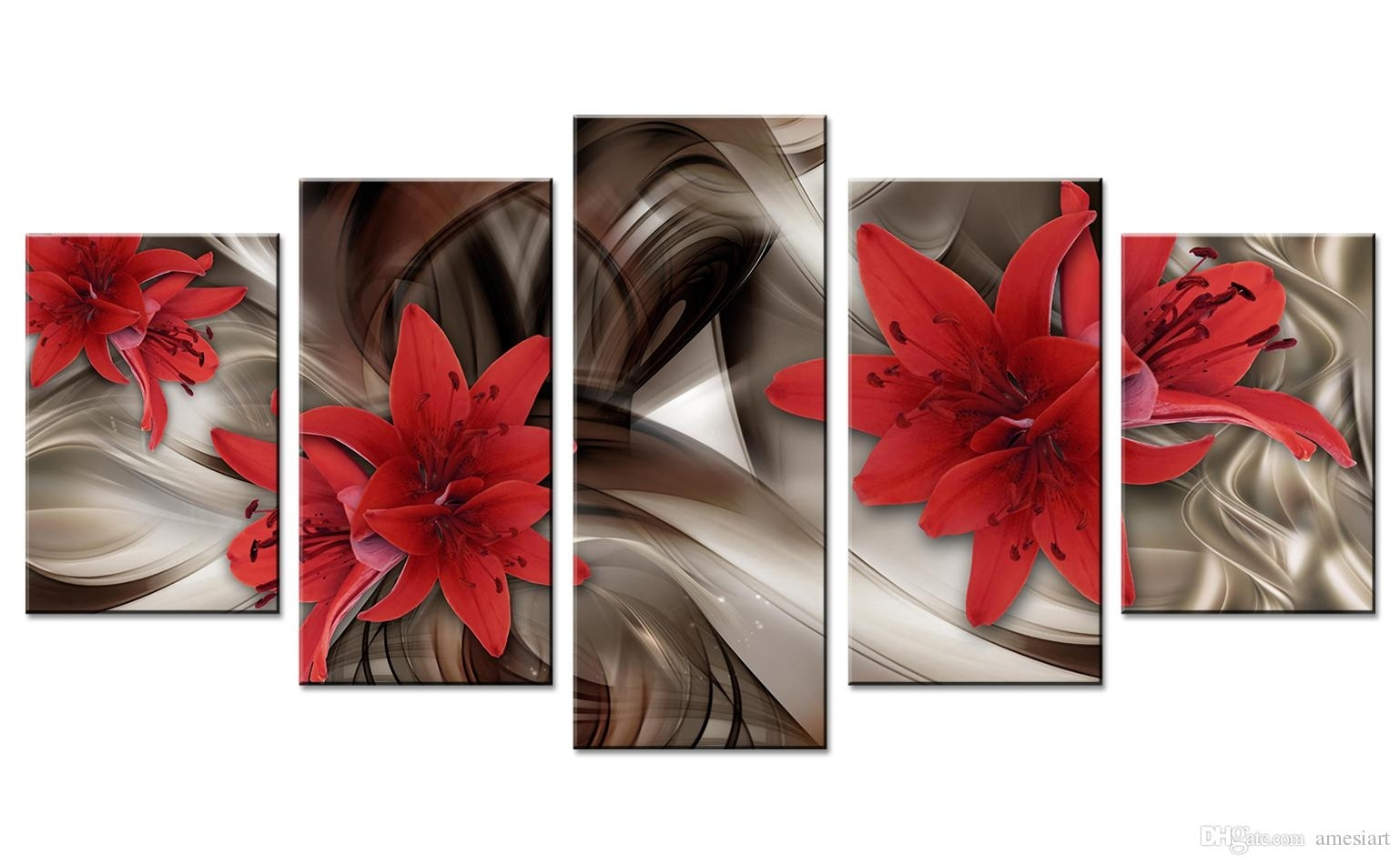 2018 Amosi Art Red Lily Flowers Canvas Wall Art Abstract Lines in Red Canvas Wall Art (Image 2 of 20)