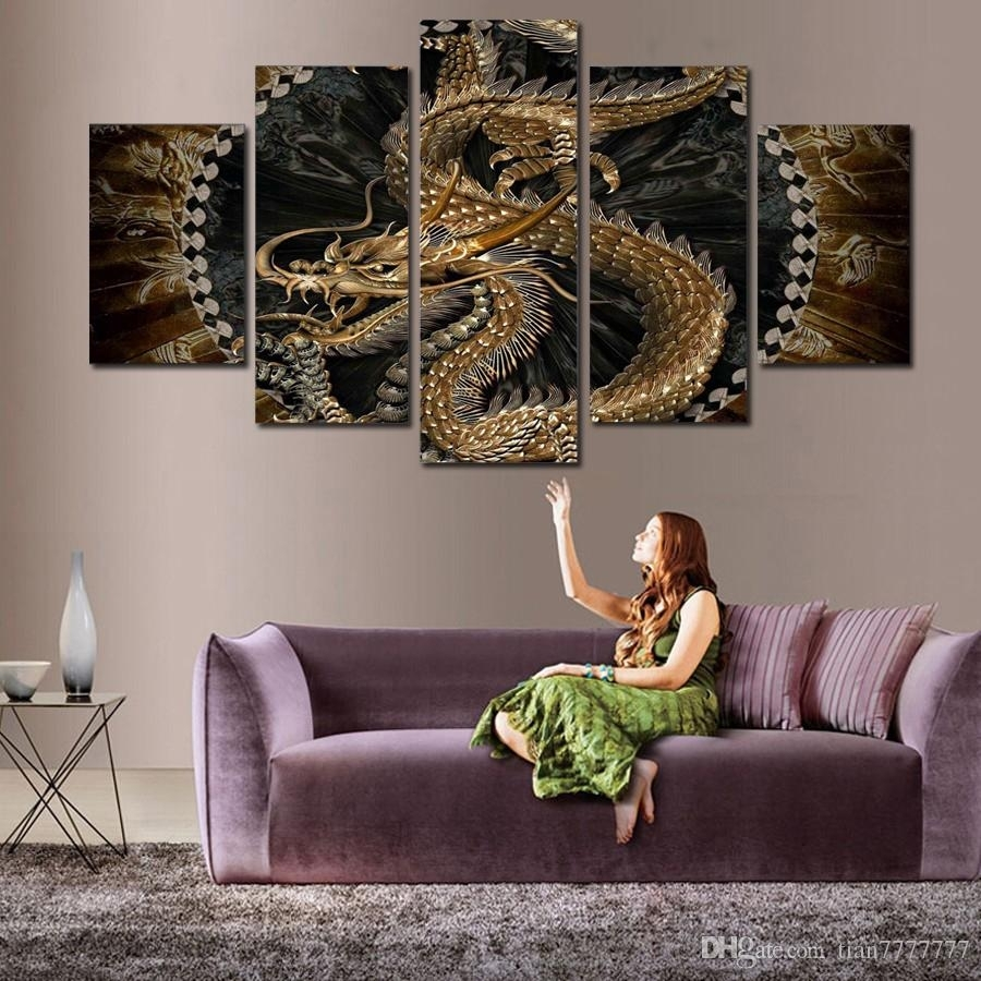 2018 Animal Dragon Canvas Painting Wall Art Digital Printing Picture Inside Dragon Wall Art (Gallery 1 of 20)
