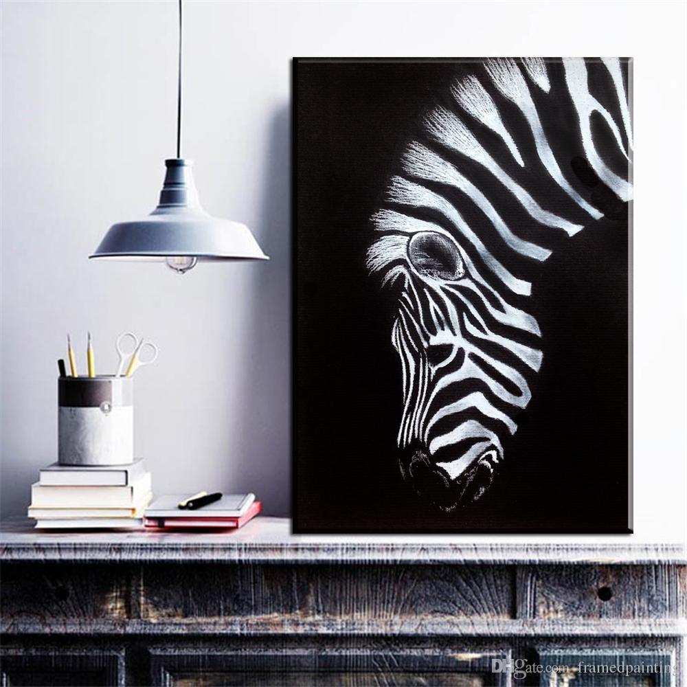 2018 Black And White Canvas Wall Art Print Zebra Canvas Animal Oil Within Zebra Canvas Wall Art (Gallery 12 of 20)