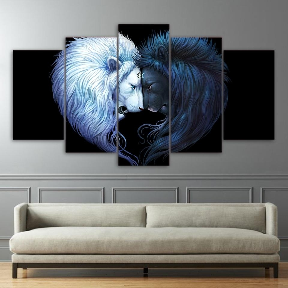 2018 Brotherhood Art Hd Print Canvas Art Black And White Lion Wall For Lion Wall Art (Gallery 4 of 20)