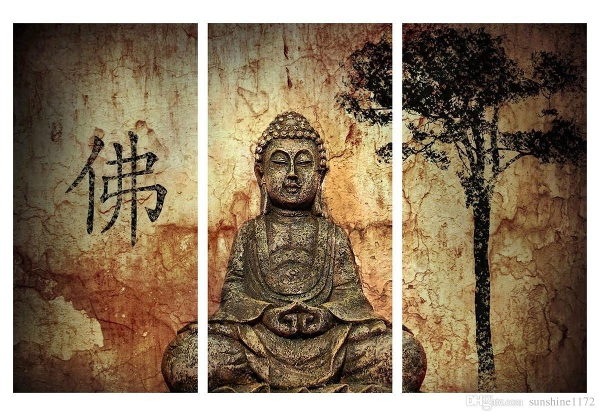 2018 Buddha Poster Print Painting No Frame Canvas Wall Art Decor With Regard To Traditional Wall Art (Photo 9 of 20)
