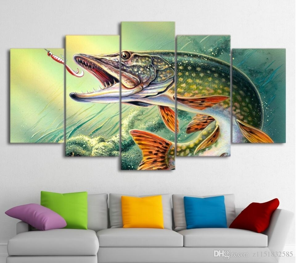 2018 Canvas Art Fishing Hooked Pike Fish Canvas Painting Wall Throughout Fish Painting Wall Art (Photo 1 of 20)