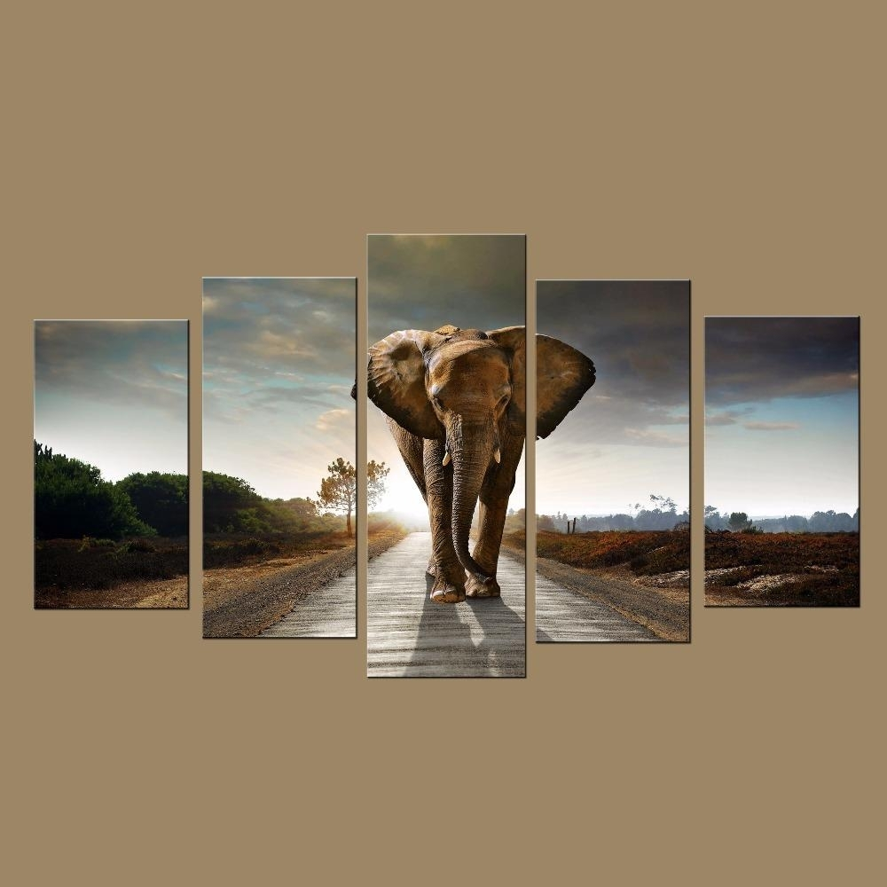 2018 Canvas Art Large Modern Printed Elephant Oil Painting Picture pertaining to Custom Wall Art (Image 1 of 20)