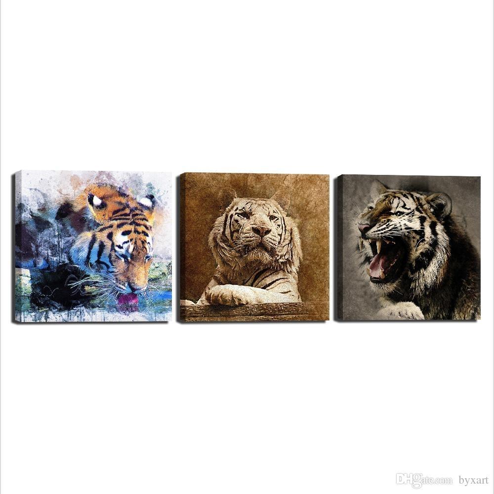 2018 Canvas Art Wall Decor, 3 Panels Animal Canvas Art Tiger Head With Regard To Animal Canvas Wall Art (Photo 3 of 20)
