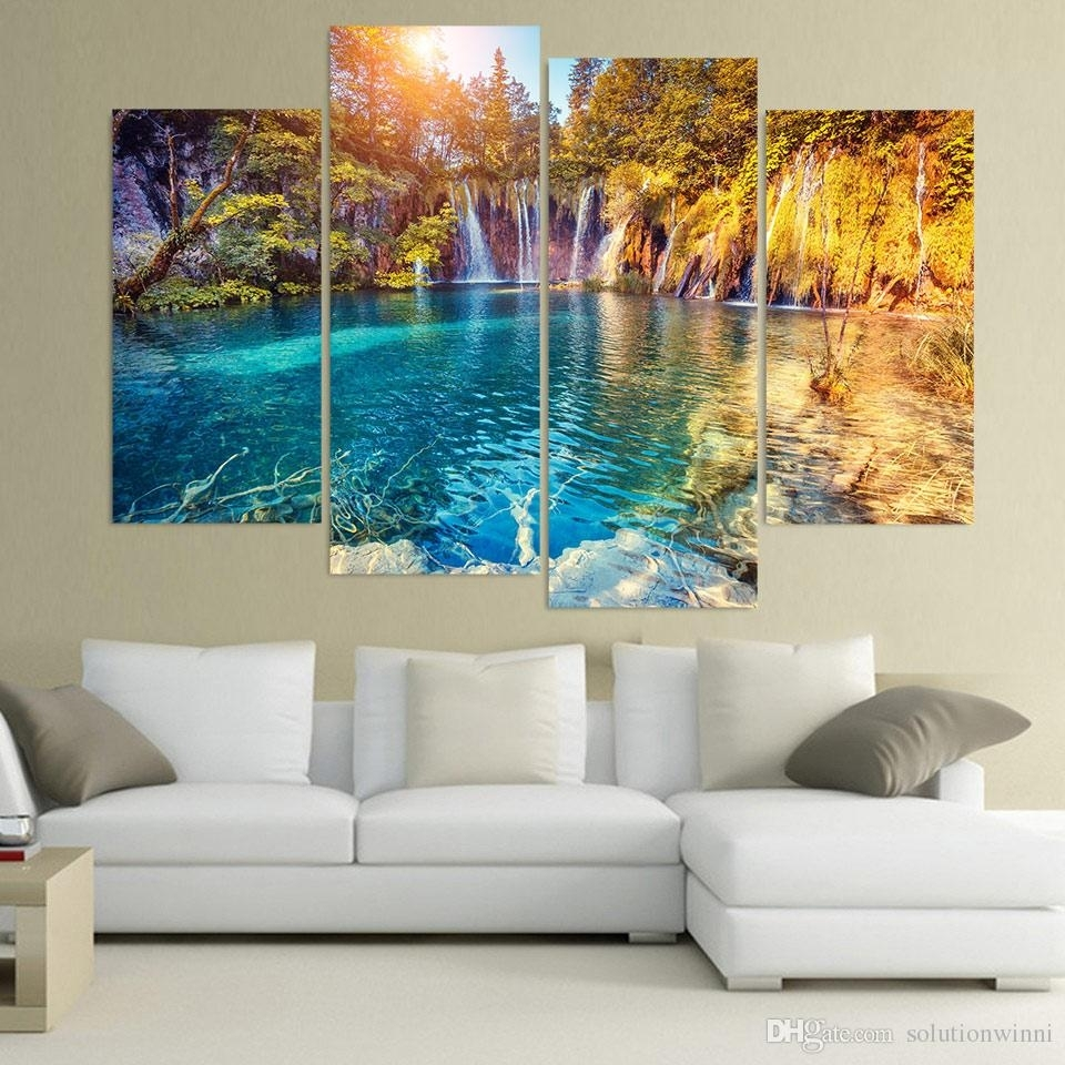 2018 Canvas Painting Clear Pool Nature Hd Printed Canvas Art Prints With 4 Piece Wall Art (Photo 19 of 20)