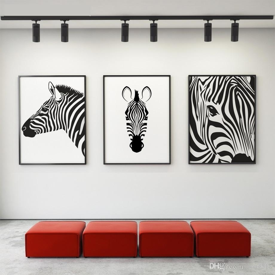 2018 Canvas Painting Nordic Black White Animal Horse Wall Art Canvas regarding Black Wall Art (Image 2 of 20)