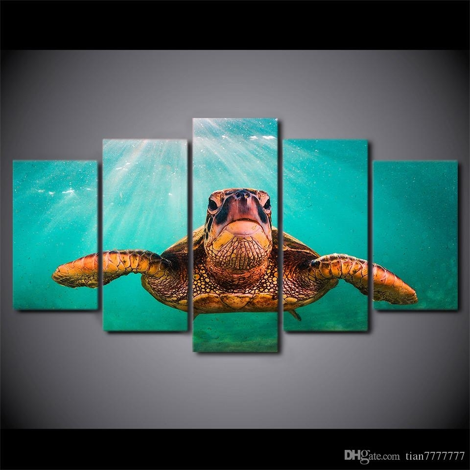 2018 Canvas Print 5 Panel No Frame Painting Wall Art Home Decor Throughout Sea Turtle Canvas Wall Art (View 1 of 20)